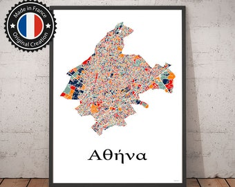 Poster Athens Greece Multicolor Map - City Map, Street Map