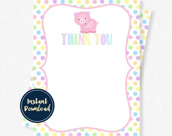 Pig Thank You Card, Pastel Birthday Party Thank You, Girl Thank You Printable INSTANT DOWNLOAD