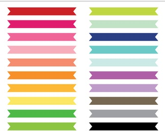 Flat Ribbon Banner Frames, Labels, Tags - 21 Pieces for Personal & Commercial Use - INSTANT DOWNLOAD