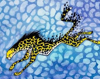 Original Art - Inky Huntress , Cheetah Watercolor and Ink painting