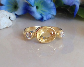 20% off- SALE!!!  Citrine Ring - Triple Gemstone Ring - November Ring - Stackable Ring - Delicate Ring - Gold Ring - Simple Jewelry
