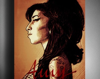 Amy Winehouse portrait, Amy Winehouse, portrait, music, singer, soul, jazz, star, gift, Song, decoration, decor, wall art, poster, song