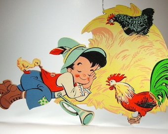 Vintage Disney Petunia Skunk and Hoot Owl from Bambi, Little Boy Blue Pin-Ups Wall Decor, The Dolly Toy Co, Nursery, Baby's Room