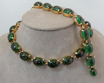 MARVELLA Signed Green Art Glass w/ Copper Fluss Choker Necklace & Bracelet Set   PV3