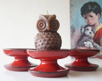 Set of 3, ceramic, red, Mid Century candle holders