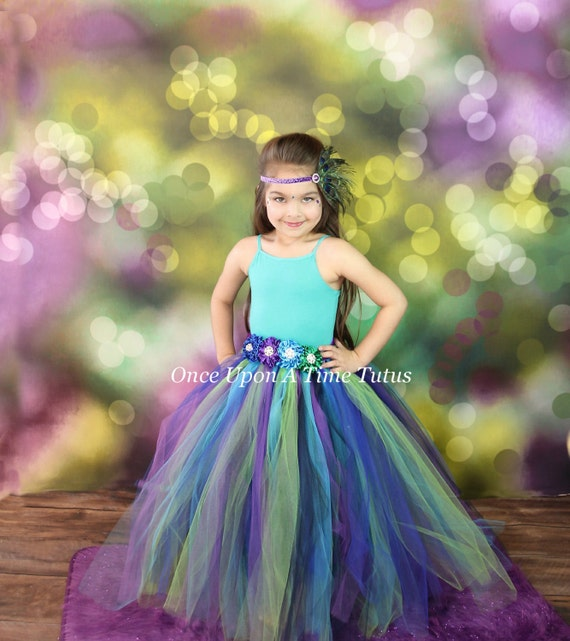 Long Peacock Tutu Skirt Child Girls Size 12 Months 2T 3T
