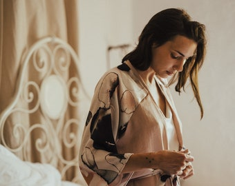 Rose Kimono / Blush Kimono / Blush Pink Robe / Bridesmaids Robe / Blush Satin Robe / Bridal Robe / Kimono / Grey Kimono / Lingerie