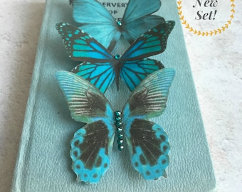 Teal silk butterfly hair clips-New Design-set of three-Bridesmaid-Flowergirl-wedding-accessory