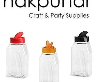 Nakpunar 1 pc 16 oz Plastic Spice Jars with Black, Red & Orange Lid and Freshness Seals