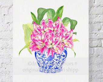 Pink Floral Watercolor Print - Blue and White Chinoiserie Print - Pink Hippies in Chinois Blue 8x10 Wall Art Print