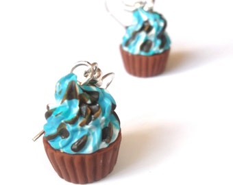 Kawaii Cupcake Earrings ( polymer clay cupcakes chocolate kids earrings for her sweet miniature food miniature cupcake jewelry cute dessert)