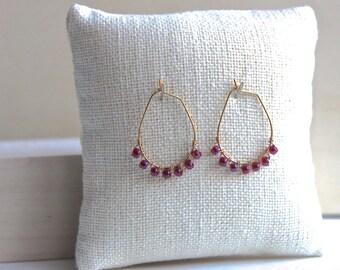 Ruby Red Hoop Earrings, Gold Earrings, Beaded Red Green Earrings, Boho Earrings, Drop, Beaded Bohemian Jewelry, Wire Wrapped