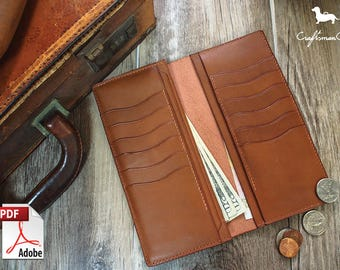 Leather Wallet Pattern (PDF Files): Long Leather Wallet 12 Cards Slot (with how to guide)