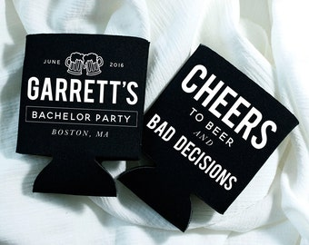 Bachelor Party Favors, Bachelor Party, Cheers, Personalized Bachelor Party, Custom Can Cooler, Stag Party Favors, Bachelor Party Gifts, 1410