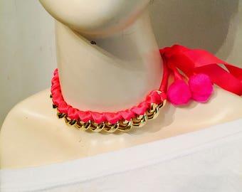 Hot pink chain pom pom choker handmade accessory