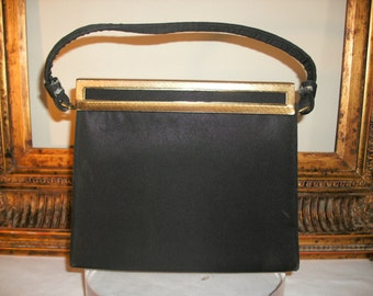 Vintage 1960's After Five Black Fabric Handbag with Change Purse