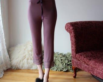 womens capri lounge pants with lace trim - NOUVEAU bamboo sleepwear range - made to order