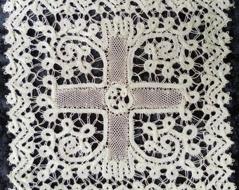 French lace vintage. Christian - eucharist. Church - liturgy. Lot of two.