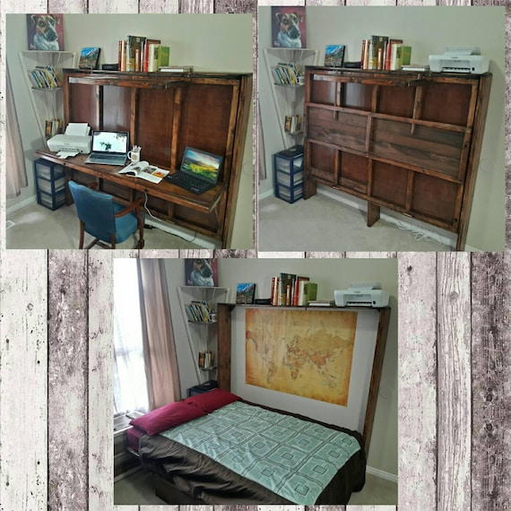 Hide A Bed Desk. Murphy Bed. All Wood Handmade. Can
