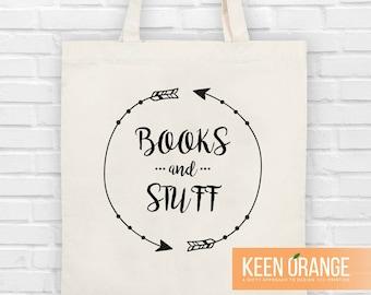 Cute Arrows Books and Stuff Canvas Tote Bag