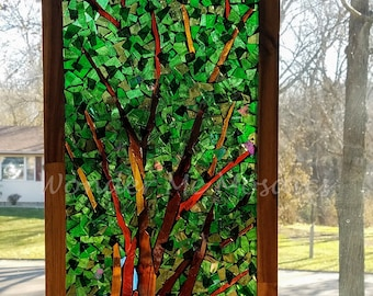 Stained Glass Mosaic - Tree Reaching Towards the Light