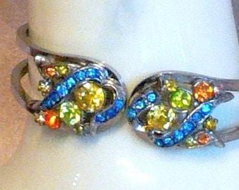 Hand painted rhinestone cuff bracelet