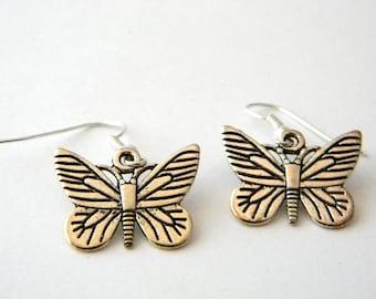 Butterfly Earrings Silver Color Dangle Earrings