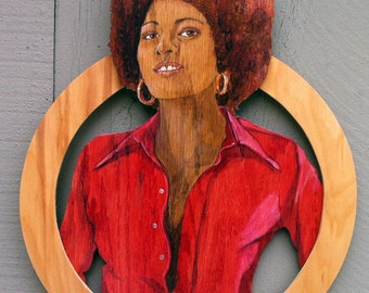 Pam Grier dimensional wood sculpture