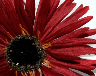 Deep Red Wild Gerbera Daisy - Artificial Flowers, Silk Flower Heads - PRE-ORDER