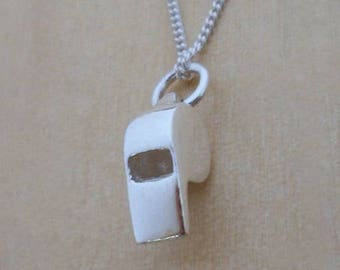 """925 Sterling Silver Whistle Pendant, Charm on 16, 18 or 20"""" Silver Curb Chain"""