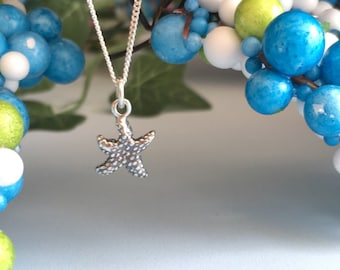 Sterling Silver StarfishSterling Silver Starfish Necklace, Starfish Wedding Jewelry, Beach Starfish Jewlery