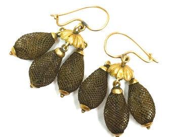 Antique Victorian Mourning woven hair cone earrings