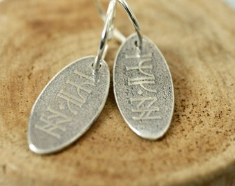 Silver Rune Earrings Good Luck Charms - Dwarven Rune Charms in Sterling Silver | Kili Lucky Charm Token