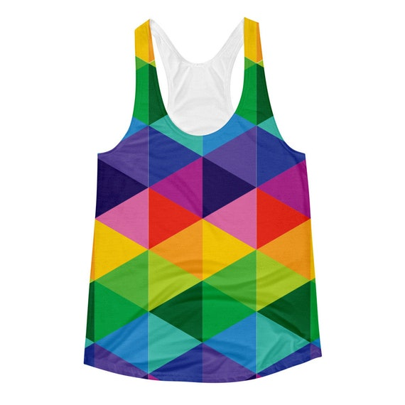 Women's Racerback Tank with Colorful Geometric Shapes Rainbow Galaxy with Triangles