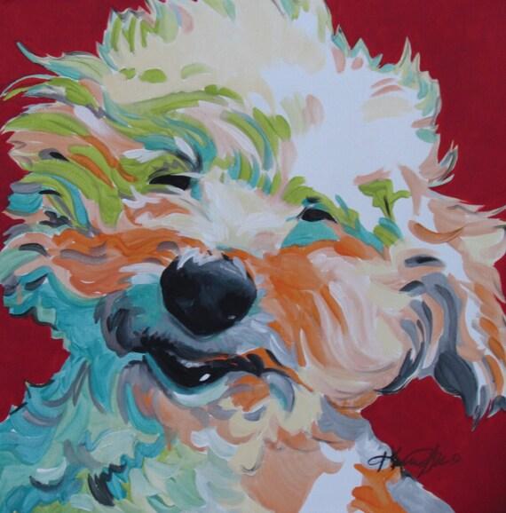 Poodle Maltipoo Bichon Frise Dog Art Pet Portrait Bright