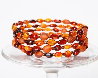 Bracelet, Natural Genuine Baltic amber beads, beaded spring necklace (DZ)