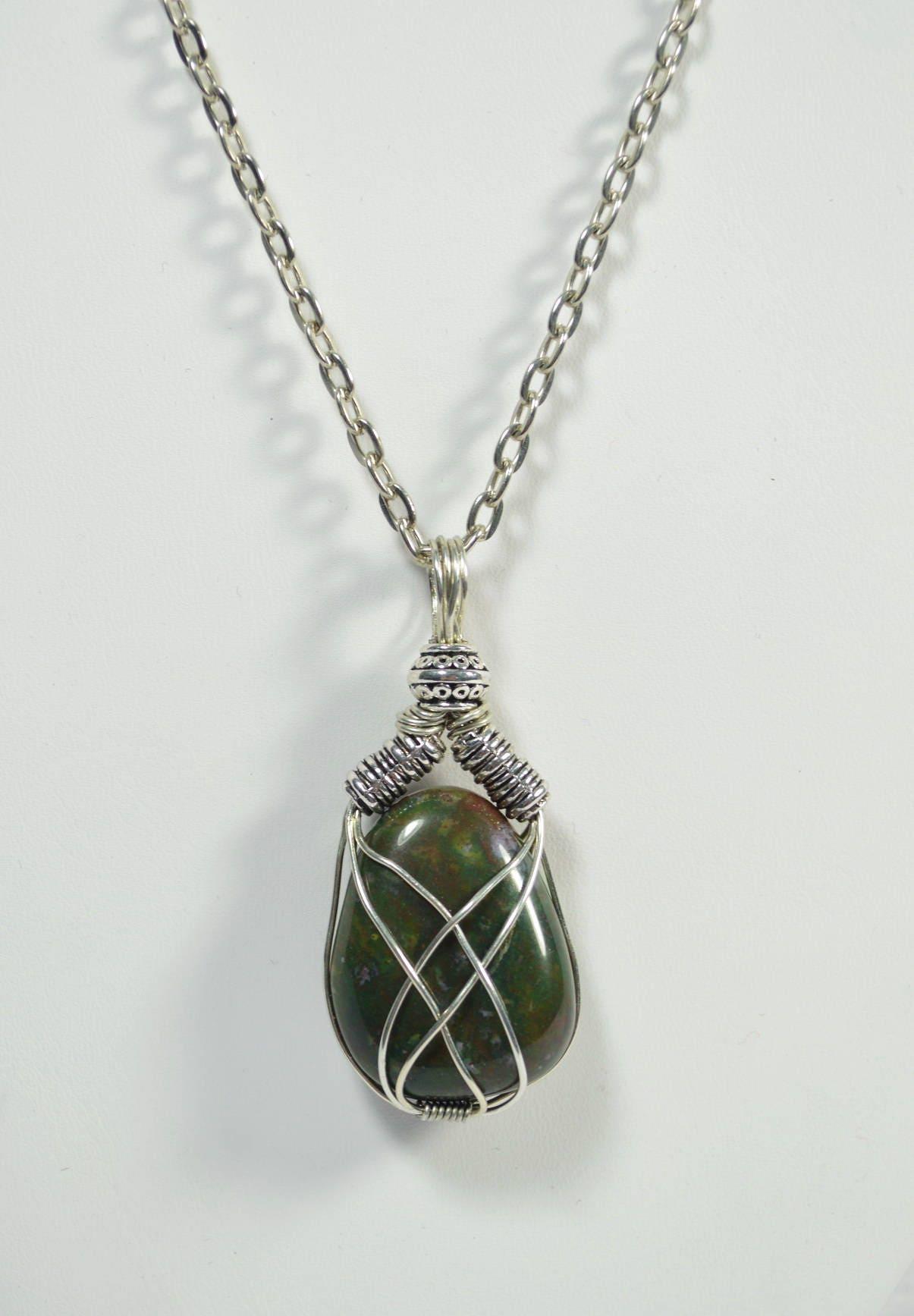 Bloodstone Necklace, Bloodstone Wire Wrapped Necklace, Bloodstone ...