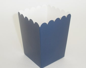 "Navy Blue Popcorn Boxes 12 ct. Treat Boxes / Favor Boxes / Candy Boxes /  Mini Popcorn Boxes 4"" x 3"" / Wedding Favors / Birthday Favors"