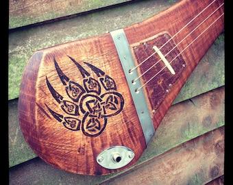 Artio - custom made slide guitar by DaShtick. Three-string Celtic diddley bow. Cbg