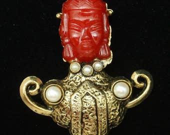 Red Face Brooch Pin Vintage