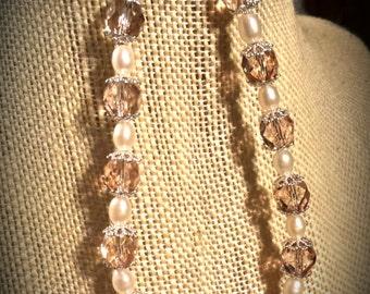 Pale Peach Czech Preciosa Glass,  Cream Freshwater Pearl Ovals with Silver Finished Brass Caps on 8 Inch Bracelet Peach Glass Bracelet