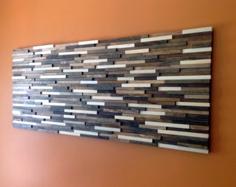 Reclaimed Wood Wall Art Wood Art Wall Art Abstract Wood Art Home Decor Livingroom Decor Wall Decor Brown Wall Art Wooden Art 24x60 & Abstract Wood Wall Art of Ocean Landscape Painting 4x48