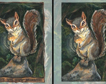 Squirrel Art, Happy Squirrel Tarot Card, Trouble Maker, Wildlife Decor, Bedroom Wall Art, Animism Tarot Deck, Forest Animal Illustration