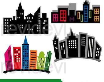 Superhero city buildings clipart - building blocks clip art, digital images - instant download, commercial use