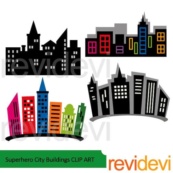 Superhero city buildings clipart building blocks clip art