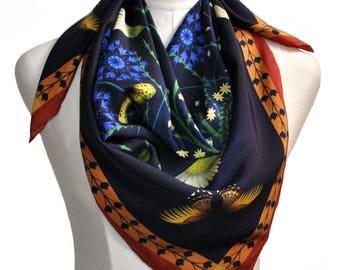 Daisy Silk Scarf / Floral Silk Scarf / Butterflies and Bees Silk Scarf / Purple Silk Scarf / Sample Sale Silk Scarf / Silk Scarf