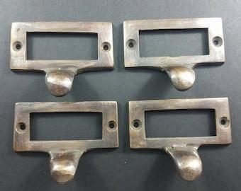 """4 Brass File Cabinet Drawer Label Holder Pulls 2 1/8"""" wide #F2"""