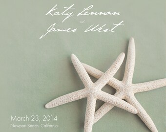 25 magnets per set- 5x5 Wedding save the date Magnets- WHITE STARFISH on green