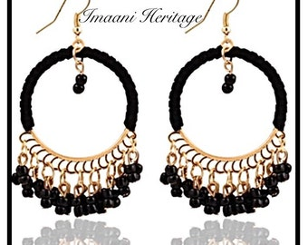 Gold Hoop Earrings / Turquoise Jewelry/ Hoop Earrings/ Dangle Gold Earrings/ Gold Boho Earrings/ Gold Statement Earrings