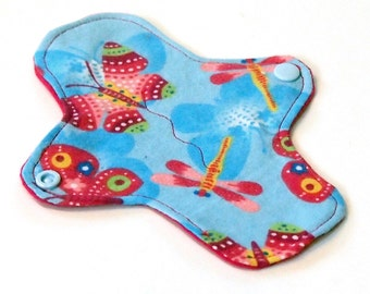 7 inch Reusable Cloth winged ULTRATHIN Pantyliner - Cotton flannel top - Bright Butterflies
